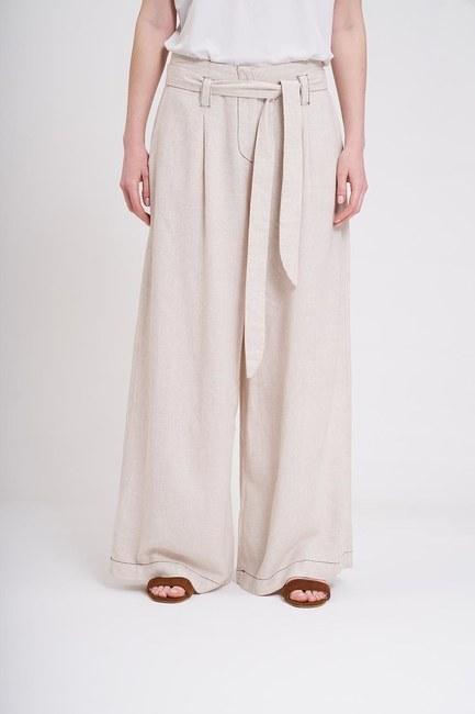 MIZALLE - Dikiş Detaylı Pantolon (Bej) (1)