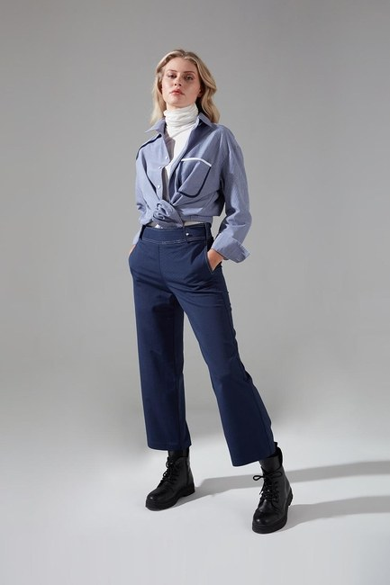 Mizalle - Dikiş Detaylı Pantolon (İndigo)