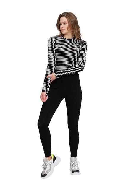 Mizalle - Dikiş Detaylı Tayt Pantolon (Siyah)