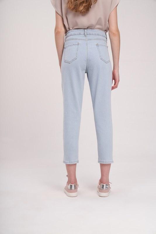 Dikişli Mom Denim Pantolon (Mavi)