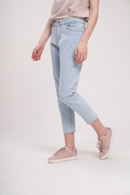 MIZALLE YOUTH - Dikişli Mom Denim Pantolon (Mavi) (1)