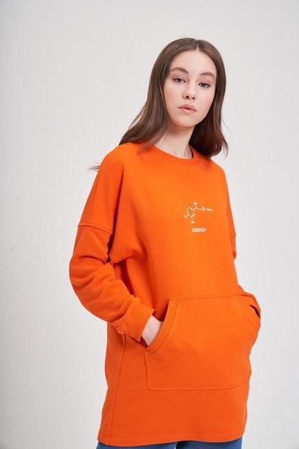 Mizalle - DNA Baskılı Sweatshirt (Turuncu)