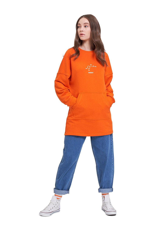 DNA Baskılı Turuncu Sweatshirt