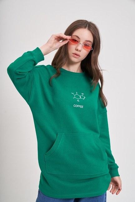 Mizalle - DNA Baskılı Sweatshirt (Yeşil)