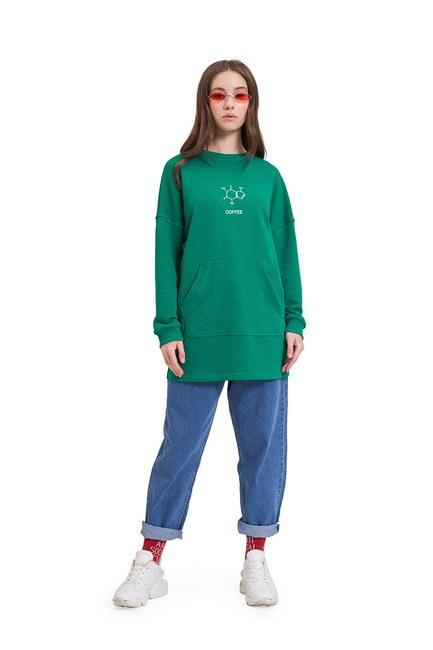 DNA Baskılı Sweatshirt (Yeşil) - Thumbnail