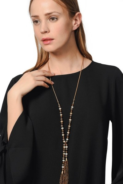 MIZALLE Contrast Necklace With Natural Stone (Multi)