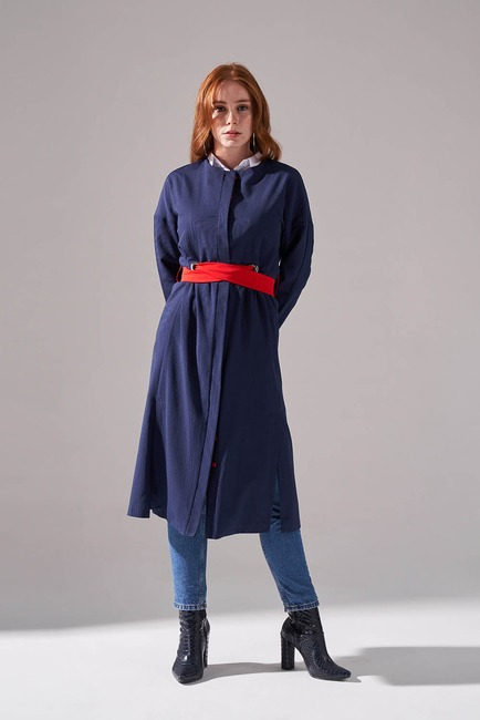 Dokulu Desen Kuşaklı Elbise (Lacivert) - Thumbnail