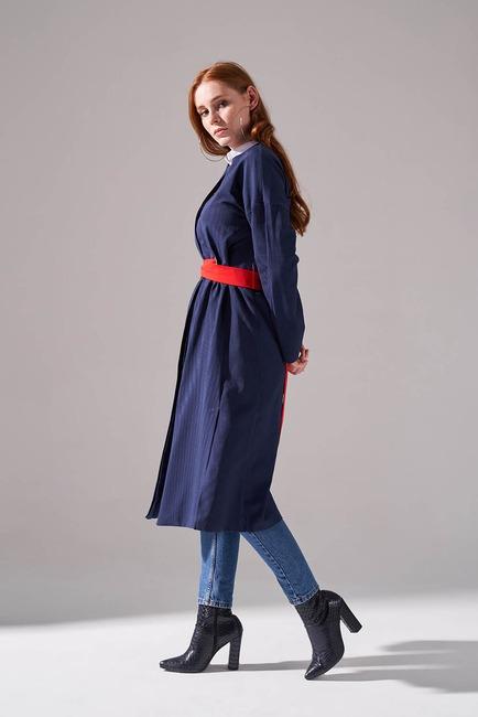 Mizalle - Dokulu Desen Kuşaklı Elbise (Lacivert) (1)