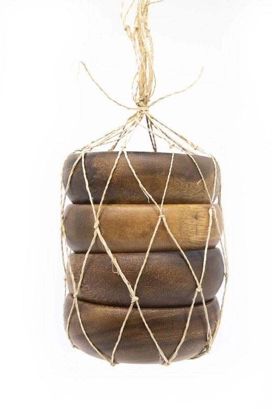 Dörtlü Küçük Bambu Çerezlik (Ahşap)