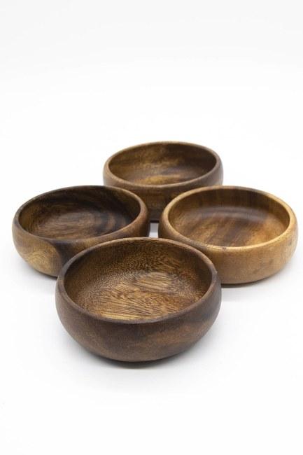 MIZALLE HOME - Dörtlü Küçük Bambu Çerezlik (Ahşap) (1)