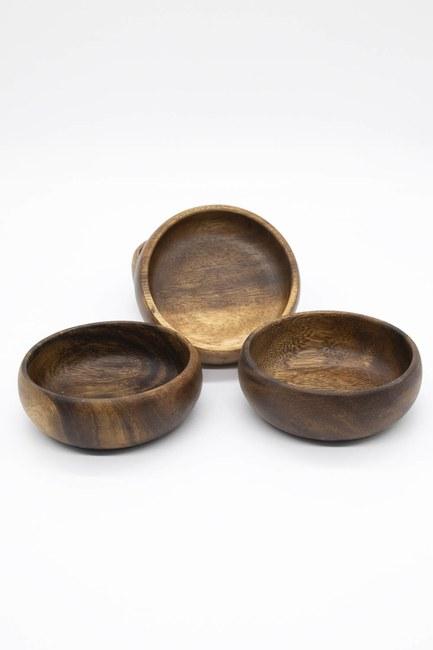 Dörtlü Küçük Bambu Çerezlik (Ahşap) - Thumbnail