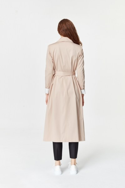 Double Colored Gabardine Trenchcoat (Beige) - Thumbnail