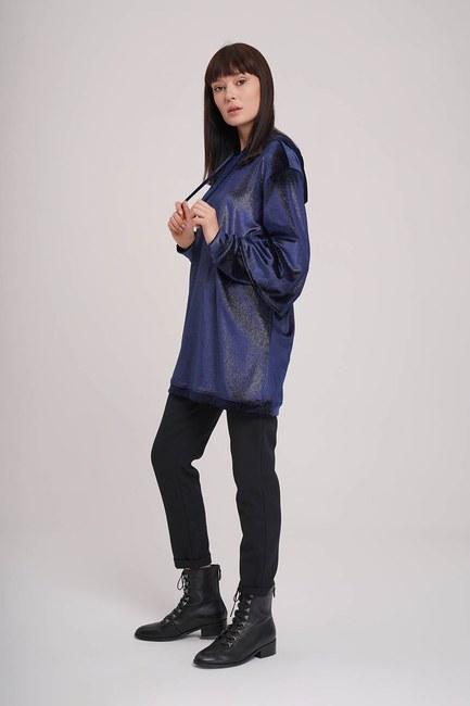 MIZALLE - سويت شيرت مع طبقة مزدوجة الأكمام (الأزرق الداكن) (1)