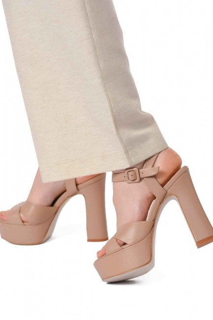 MIZALLE Double Platform Leather Shoes (Beige)