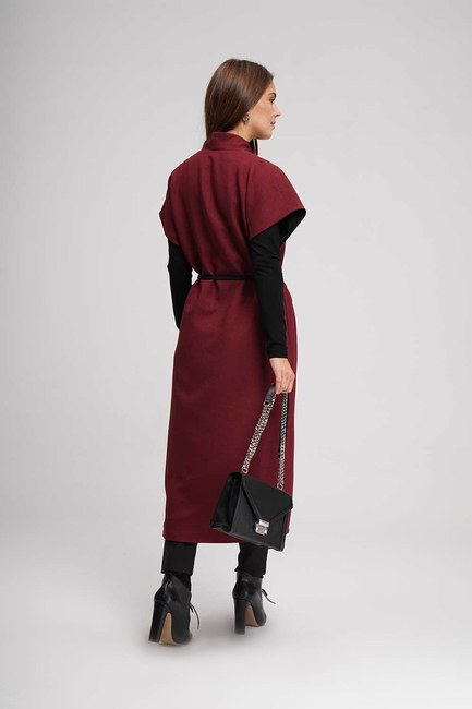 Double Sided Caftan (Claret Red) - Thumbnail