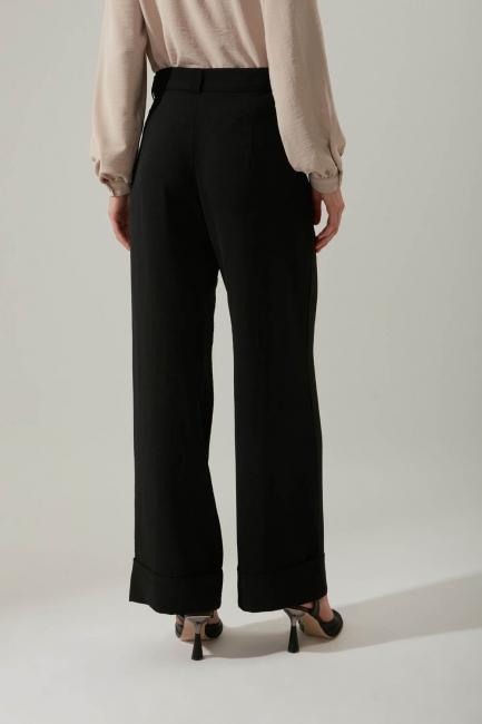 Duble Paça Siyah Pantolon - Thumbnail