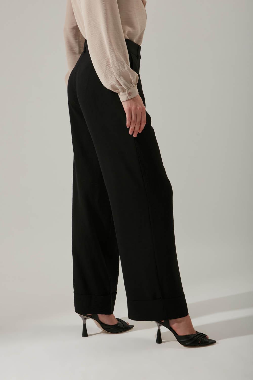 Duble Paça Siyah Pantolon