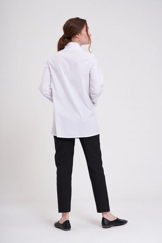 Düğme Detaylı Tunik Gömlek (Beyaz)