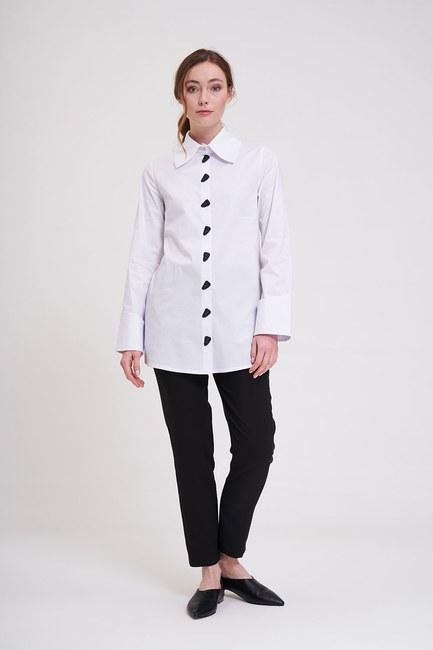 Mizalle - Düğme Detaylı Tunik Gömlek (Beyaz)