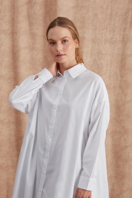 Mizalle - Düğmeli Basic Beyaz Tunik