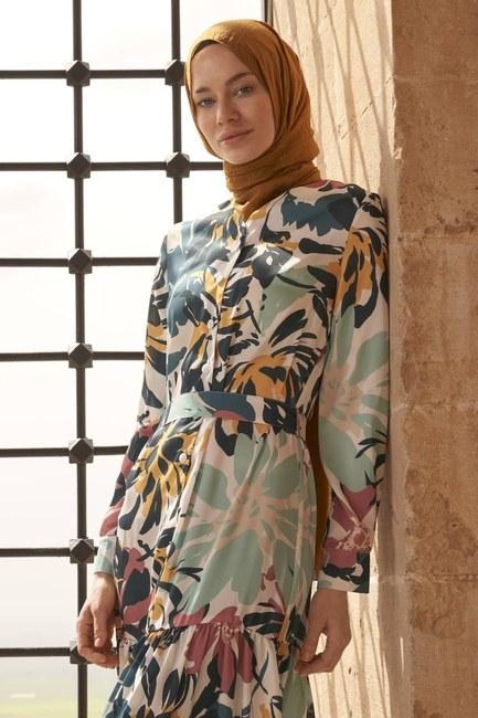Düğmeli Çiçek Desenli Elbise (Renkli) - Thumbnail