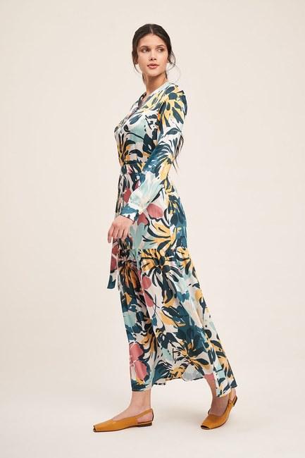Mizalle - Düğmeli Çiçek Desenli Elbise