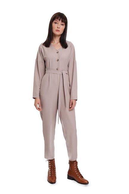 MIZALLE Buttoned Crepe Jumpsuit (Beige)