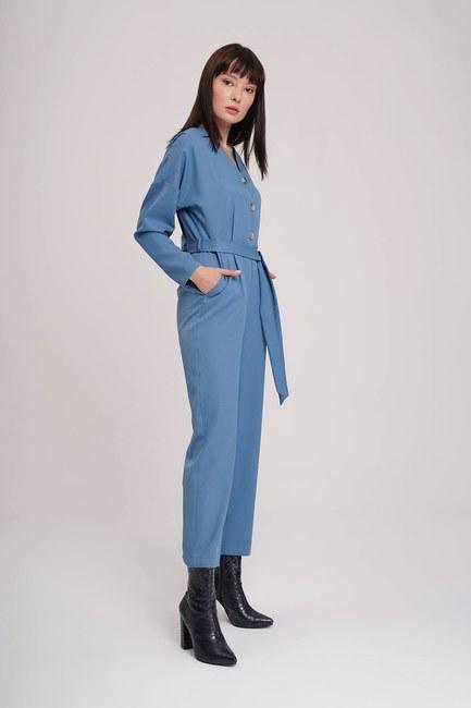 MIZALLE - Buttoned Crepe Jumpsuit (Indigo) (1)