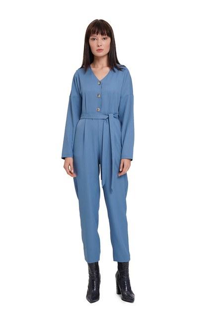 MIZALLE Buttoned Crepe Jumpsuit (Indigo)