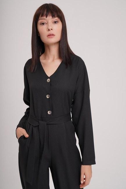 Buttoned Crepe Jumpsuit (Black) - Thumbnail