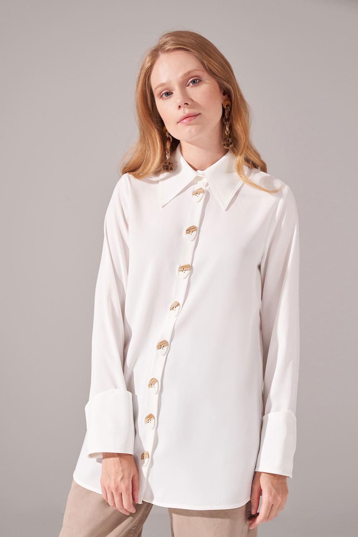 Düğmeli Krep Tunik Gömlek (Ekru)