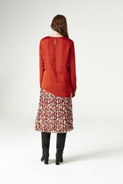 Knot Detailed Blouse (Brick Red) - Thumbnail