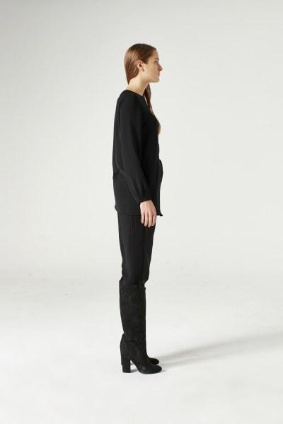 Düğüm Detaylı Bluz (Siyah) - Thumbnail