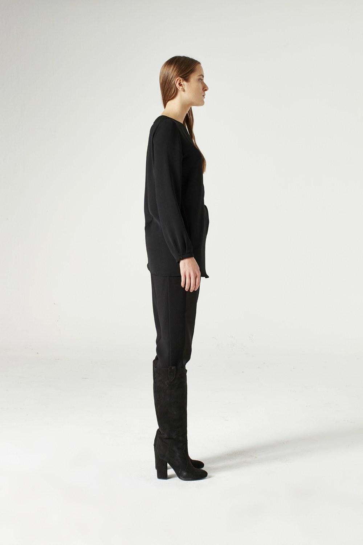 MIZALLE Düğüm Detaylı Bluz (Siyah) (1)