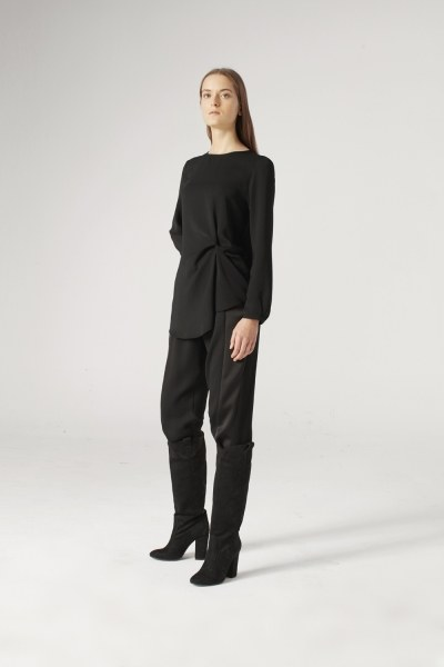 Knot Detailed Blouse (Black) - Thumbnail
