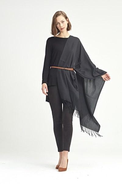 MIZALLE - Düz Şal (Siyah) (1)