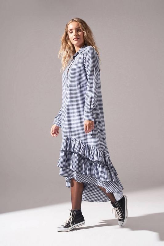 Ekose Altı Fırfırlı Elbise (Lacivert)