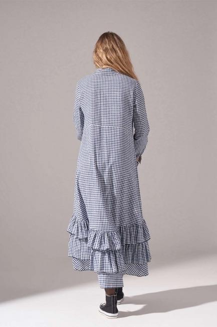 Ekose Altı Fırfırlı Elbise (Lacivert) - Thumbnail