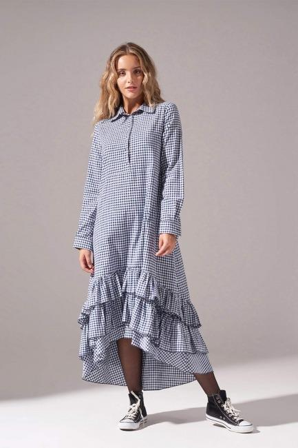 Mizalle - Ekose Altı Fırfırlı Elbise (Lacivert)