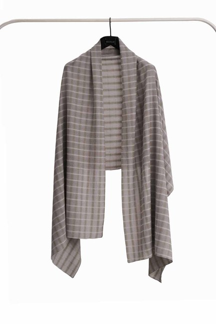 MIZALLE Plaid Shawl (Khaki)