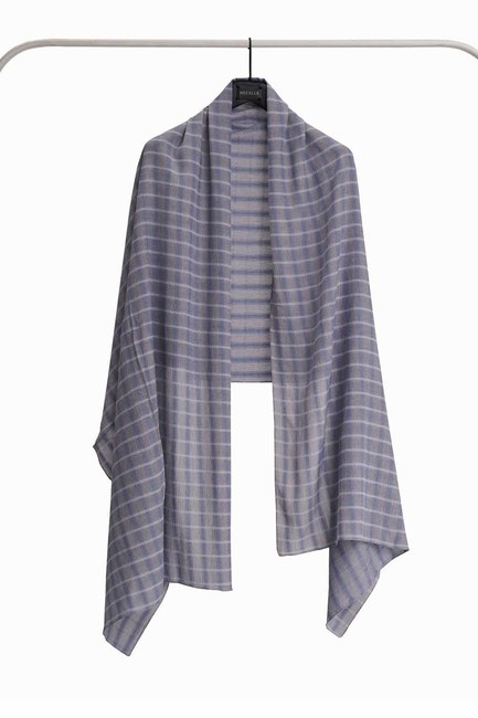 MIZALLE Plaid Shawl (Blue)