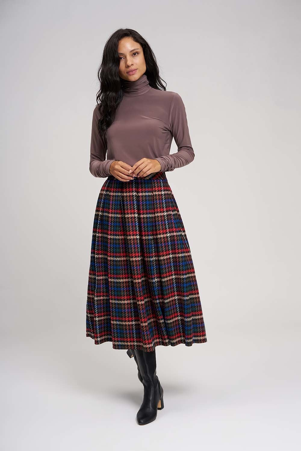 MIZALLE Plaid Multi Colored Skirt (1)