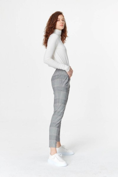 MIZALLE - Narrow Leg Plaid Trousers (Grey) (1)