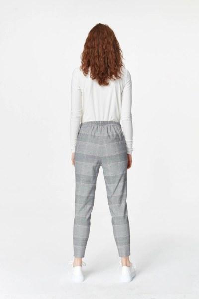 Narrow Leg Plaid Trousers (Grey) - Thumbnail