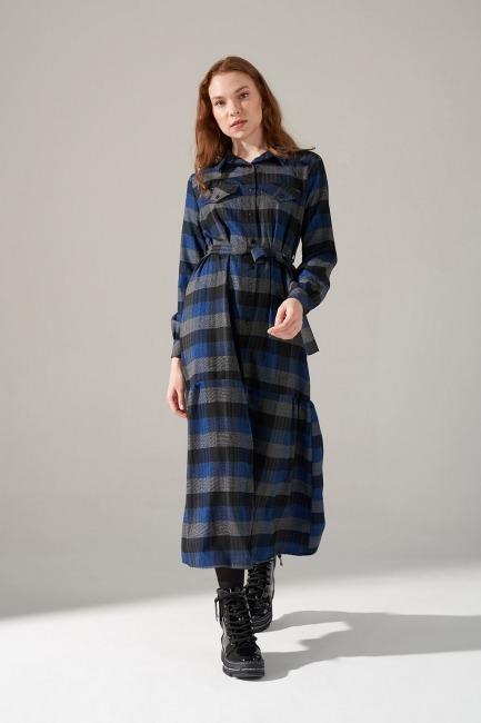 Ekose Desenli Elbise (Mavi) - Thumbnail