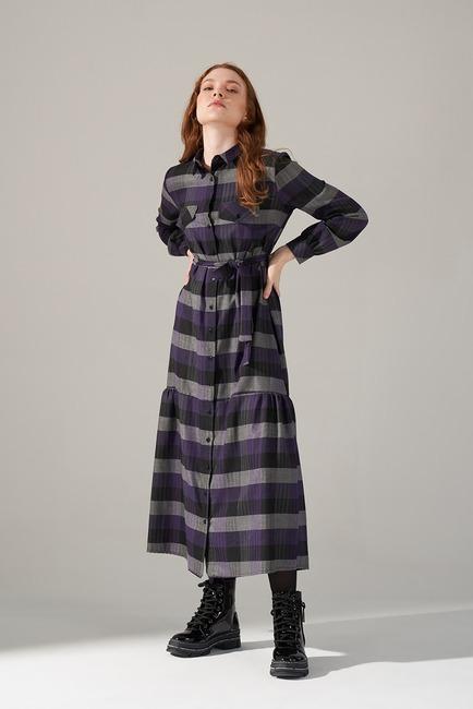 Mizalle - Ekose Desenli Elbise (Mor)