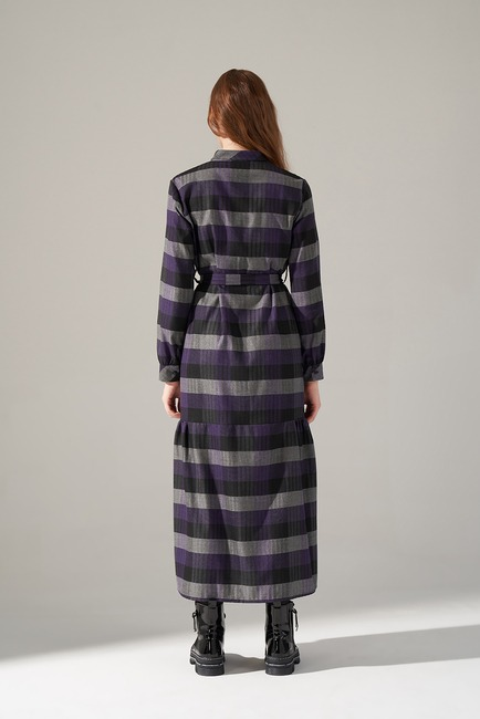 Ekose Desenli Elbise (Mor) - Thumbnail