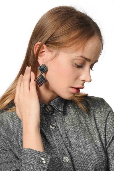 Square Earrings Plaid Patterned (Multi) - Thumbnail