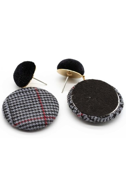 MIZALLE - Plaid Patterned Oval Earrings (Black) (1)