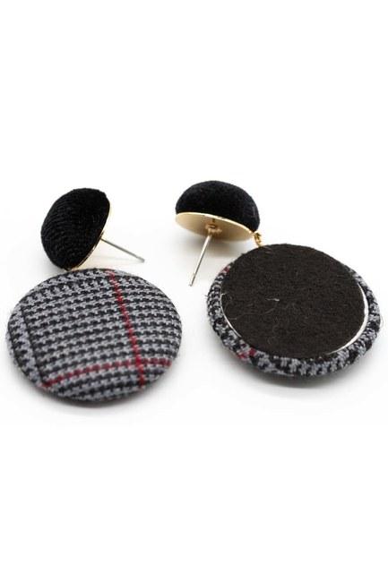 Ekose Desenli Oval Küpe (Siyah) - Thumbnail